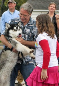 Timber, a Huskee with owner 
