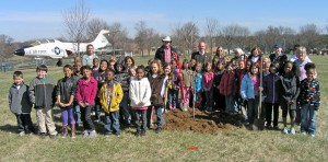 Pictured are 2nd graders and their teacher from Parker Road Elementary School, City's Forester Doug Shelley, Mayor Thomas P. Schneider and members of the Gardeners of Florissant Club.
