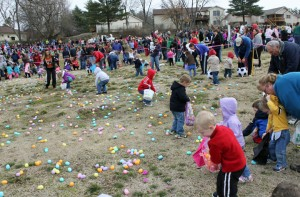 And They're Off – Kids in the Age 4-5 group waste no time going out and picking up as many Easter eggs as they can find. Hazelwood event organizers estimated there were about 3,500 eggs in that section alone.