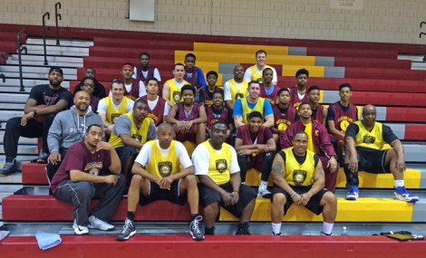"""Hazelwood East players and St. Louis County Police officers had a little hoop scrimmage at the high school as sort of an """"ice breaker"""" for everyone."""