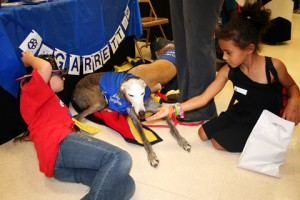 Students greet the Garrett greyhound, the mascot for Garrett Elementary, during the Hazelwood Back-to-School Fair. The Fair attracted more than 2,500 attendees to the event.