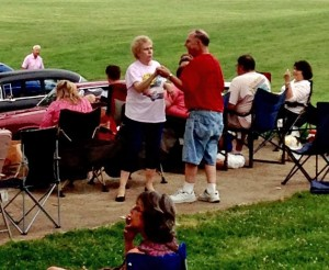 Enjoying the music in St. Ferdinand Park during free concert