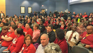 Photo of packed school board meeting room…. An estimated 200-300 more stood in the lobby and area outside the board room. Photo provided by Keith English.