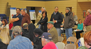Lining up to speak at the Coldwater Creek Hearing