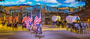 Dixie Stampede,  Cowboys with American Flags atthe finale of the show