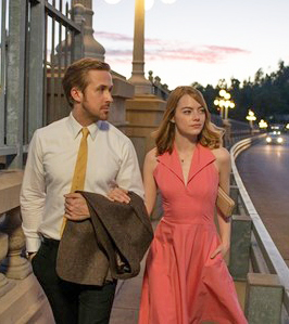Ryan Gosling and Emma Stone in La La Land, a romantic love letter to Hollywood and Hollywood's Golden Age Musicals.