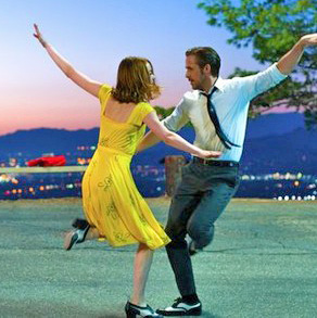 Ryan Gosling as Sebastian and Emma Stone as Mia sing and dance in Oscar contender La La Land.