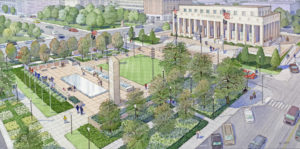 An artist rendering of the completed Soldier's Memorial downtown, planned for completion by Veteran's Day in November 2018.