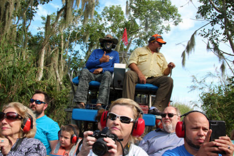 Taking cell phone photos from a Black Hammock Adventures' airboat ride on Lake Jesup, which is said to have the largest Alliigator population of any Florida lake. (Bob Lindsey photo)