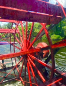 BIG WHEEL TURNING: The paddlewheel from the Barbara Lee Cruise Rolling down the St. John's River. (Pat Lindsey photo)
