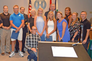 "The Hazelwood's ""Life-Saving Award"" were presented to several White Birch Aquatic Center lifeguards involved in saving a woman's life on July 18. The lifeguards  were honored at the Aug. 2 City Council meeting."