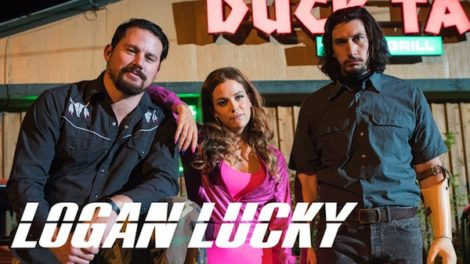 "Channing Tatum as Jimmy Logan and Riley Keough as Jimmy's seemly successful sister Mellie and Adam Driver as their brother down-on-his lucky brother Clyde in director Steven Sodoerbergh's ""Lucky Logan."""
