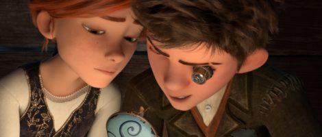 Felicie Milliner (voice of Elle Fanning) and Victor (voice of Nat Wolff) examine Fe?licie's broken musicbox in Leap!