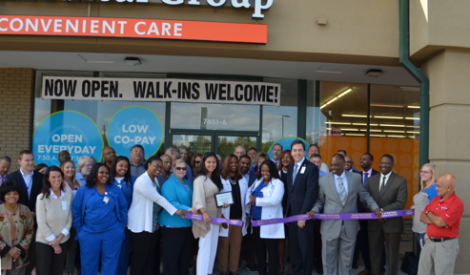 BJC officials and the Greater North County Chamber of Commerce joined with local leaders for the official opening of the Convenient Care at Hazelwood facility.