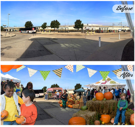 Before and after photos above of the Pop up Metro Market that will be set up at the North Hanley Metrolink Station on Oct. 11.