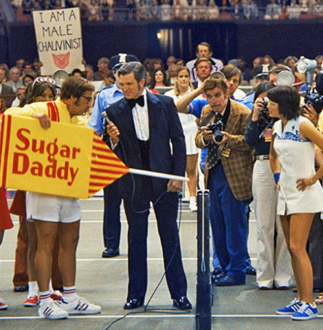 "Billie Jean King (Emma Stone) left in photo, and Bobby Riggs (Steve Carell) right in photo, star in ""Battle of the Sexes."""