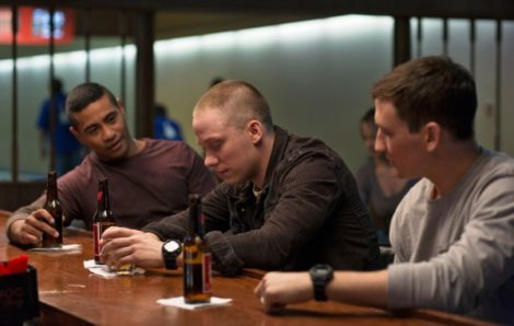 "Adam Schumann (Miles Teller), Will (Joe Cole), and Solo (Beulah Koale) as Iraq war veterans struggling to returnt o civilian life in ""Thank You for Your Service"" (2017)"