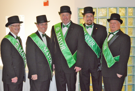 Mayor Norman C. McCourt City of Black Jack, Mayor Thomas P. Schneider of Florissant, Mayor Matthew G. Robinson of Hazelwood, Mayor James W. Knowles III of Ferguson, Mayor Robert J. Doerr of Bellefontaine Neighbors from the 2017 ball, will be back for the 11th Annual Mayors' Shamrock Ball March 3 benefiting Valley Industries Sheltered Workshop.